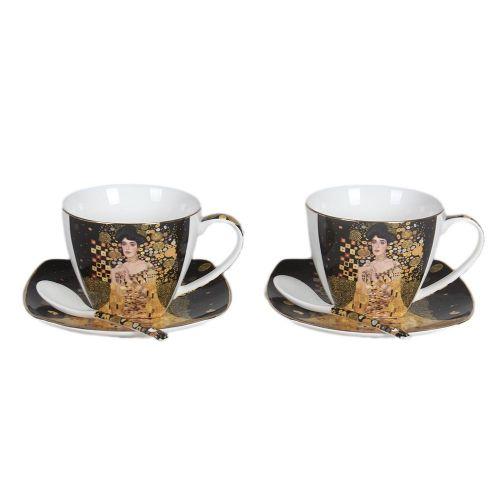 Комплект две чаши с чинийки и лъжички - Адел Бош на супер цена от Neostyle.bg