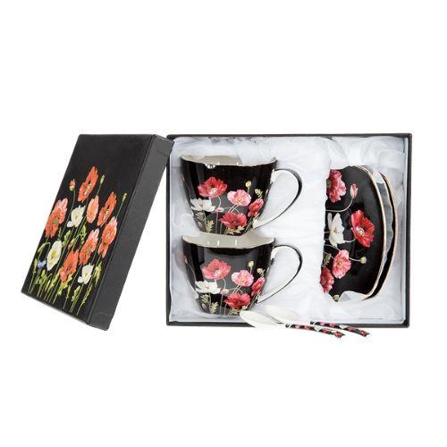 Комплект две чаши за чай с чинийки и лъжички - Черни макове на супер цена от Neostyle.bg
