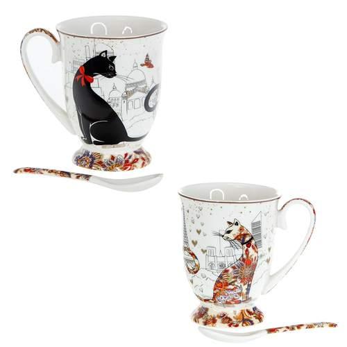 Сервиз за чай от 2 чаши MUG котки на супер цена от Neostyle.bg