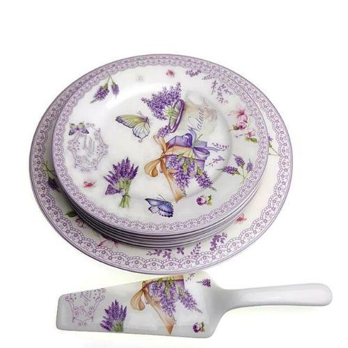 Комплект чинии за торта Лавандула