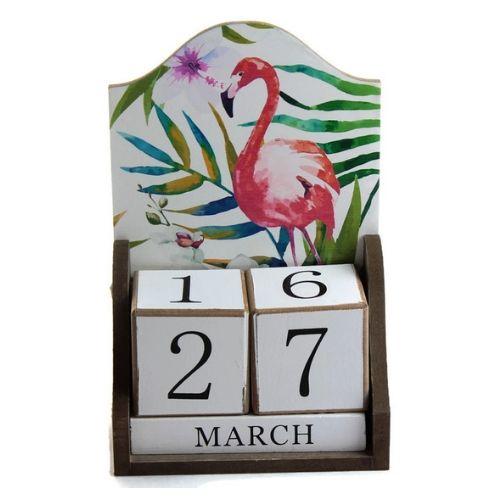 Дървен вечен календар Фламинго