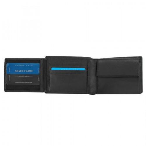 Мъжки комплект портфейл и колан от естествена кожа 110 см. SILVER FLAME на супер цена от Neostyle.bg