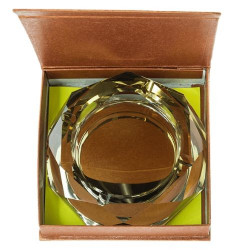 Стъклен пепелник 15 см златен