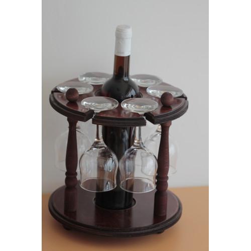 Дървена стойка за бутилка с 6 чаши